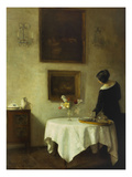 A Woman by a Dining Table Gicléetryck av Carl Holsoe