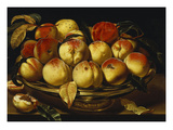 Peaches in a Silver-Gilt Bowl on a Ledge Premium Giclee Print by Jacques Linard