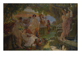 Nymphs Eating Fruits and Making Music on a Balcony in an Arcadian Landscape Art by Paul Jean Gervais