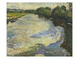 Study: View of the Oise with Bridge; Etude: L'Oise Vue Au Port Print by Emilio Boggio