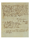 Autograph Letter Signed by Wolfgang Amadeus Mozart (1756-1791) and Sent to His Wife Constanze,… Giclee Print