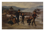 A Winter Landscape with Children Skating on a Pond Giclee Print by Leopold Till