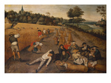 Summer: Harvesters Working and Eating in a Cornfield Prints by Pieter Bruegel the Elder