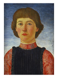 Portrait of a Young Gentleman, Bust Length, in a Blue Jacket with Red Sleeves and Collar Giclée-tryk af Cosimo Rosselli