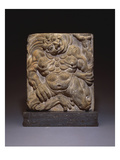 A Moulded Dark Gray Earthenware Tile of a Demon. Tang Dynasty, from Xiudingsi Pagoda, Henan Posters