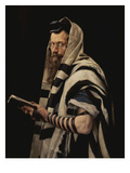 Rabbi with Tefillin Impresso gicle por Jan Styka
