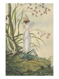 A Fairy with a Bee on Her Head Standing on a Grasshopper Giclee Print by Amelia Jane Murray