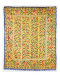 A Yellow Ground Susani Embroidered with a Border of Spikey Pink Flowers, the Field Worked with… Prints