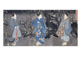 An Oban Triptych Depicting a Nocturnal Scene with Three Bijin Prints by Kuniyoshi Utagawa