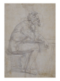 A Bearded Man, Bare Legged, Seated at a Table Prints by Baccio Bandinelli