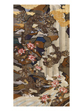A Large Woven Silk Kossu Panel Depicting a Large Shishi with Her Two Young Giclee Print