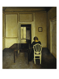 Interior with a Woman Seated on a White Chair Affiches par Vilhelm Hammershoi