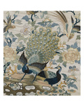 An Embroidered Roundel of Cream Satin, with a Pair of Peacocks and Other Birds Among Flowers Premium Giclee Print
