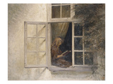 A Girl Reading in a Window Giclee Print by Peter Ilsted