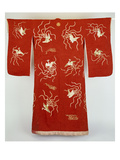 A Furisode of Red Silk Crepe Damask Embroidered in Coloured Silks and Couched Gilt Threads with… Prints
