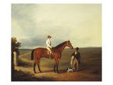 A Racehorse with a Jockey Up, with a Trainer and a Spaniel by a Gate Prints by George Fenn (Attr to)