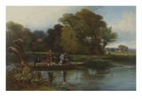 Two Anglers and a Bailiff in a Punt on a River Fishing for Bream with Landscape Beyond Giclee Print by Alexander F. Rolfe