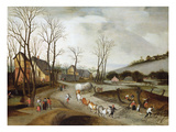 An Extensive Winter Landscape with a Wagon, Peasants at Work Pollarding and Other Peasants on a… Giclee Print by Abel Grimmer