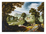 An Extensive Wooded Landscape with a Porter and Peasants on a Path by a Bri Prints by Marten Ryckaert