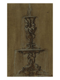 Design for a Fountain with Conches and Tritons Above a Basin Supported by Dolphins Giclee Print by Gian Lorenzo Bernini (Circle of)