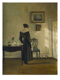 An Interior with a Woman Feeding a Cat Giclee Print by Carl Holsoe