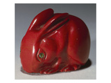 A Carved Purpurine Figure of a Rabbit with Faceted Demantoid Garnet Eyes Giclee Print