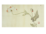 Poppy from Primrose, Mount Fuji, Bamboo and Toy Bird, Kanzan and Jittoku, Cuckoo under the Moon, Giclee Print by Sakai Hoitsu