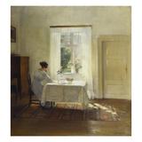 A Woman Seated at a Table by a Window Reproduction procédé giclée par Carl Holsoe