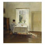 A Woman Seated at a Table by a Window Posters av Carl Holsoe