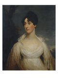 Portrait of a Lady Seated, Half Length, Wearing a White Dress Poster by Sir William Beechey