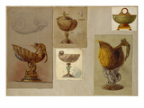 A Selection of Designs from the House of Faberge Including Vases a Tazza and a Pitcher Giclee Print