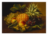 Grapes, Peaches, Hazelnuts and a Pineapple in a Basket Print by Johan Laurentz Jensen