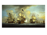The English Fleet at Anchor with the Admiral's Ship Signalling to the Vice and Rear Admirals of… Giclee Print by Peter Monamy