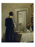 An Interior with a Woman at a Table Prints by Carl Holsoe