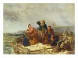 Fishermen on a Quay During a Storm Giclee Print by Henry Perlee Parker