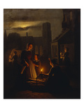 A Mother and Child by a Fishmonger on a Market, at Moonlight Giclée-Druck von Andre Vermeulen