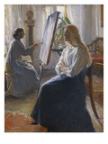 In the Studio; Anna Ancher, the Artist&#39;s Wife Painting Reproduction proc&#233;d&#233; gicl&#233;e par Michael Peter Ancher