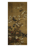 Birds in Flight and Perched on Blossoming Magnolia Branches Art