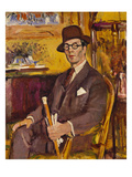 The Malacca Cane, a Portrait of Duncan Macdonald, Esq, Seated Prints by George Leslie Hunter