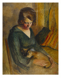 Seated Woman with a Cat on Her Knees; Femme Assise Avec Chat Sur Ses Genoux Prints by Roderic O'Conor