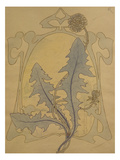 Design of Dandelions Against a Sinuous Art Nouveau Background Prints by Koloman Moser