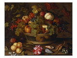 A Still Life of Grapes, Apples, a Peach and Plums in a Basket with Lily of the Valley, a… Prints by Balthasar van der Ast