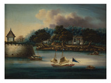 A River Scene with a Folly Fort; and Junks Moored around an Island Temple Giclee Print by  Chinese School