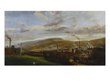 An Industrial Landscape Showing an Ironworks, with Figures and Animals in the Foreground Giclee Print by Penry Williams