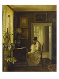 An Interior with a Woman Sewing Posters av Carl Holsoe