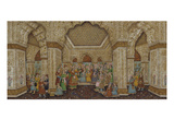 Mughal Palace Interior Depicting Shah Jahan and Mumtaz Mahal Art