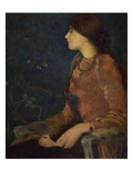 Pensive Lady, Seated; Dame Pensive, Assise Giclee Print by Edmond-francois Aman-jean