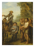 Four Scenes from 'Don Quixote': Don Quixote and Sancho Panza after the Battle with the Gallant… Giclée-Druck von John Vanderbank