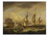 A Merchant Ship in Two Positions by an Estuary Off the South West Coast Prints by Thomas Luny