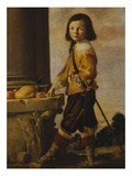 Portrait of a Youth, Standing Full-Length by a Capital, in a Landscape Giclee Print by Luigi Miradori